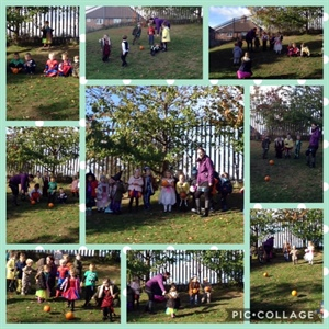 Water play, colour mixing, pumpkin rolling fun day!