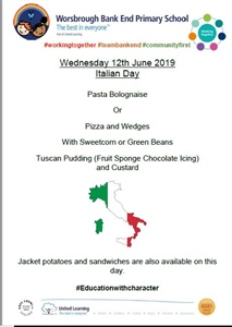 Italian Menu Wednesday 12th June 2019